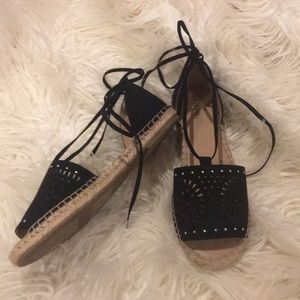 Merona Black Lace Up Espadrilles Sandals